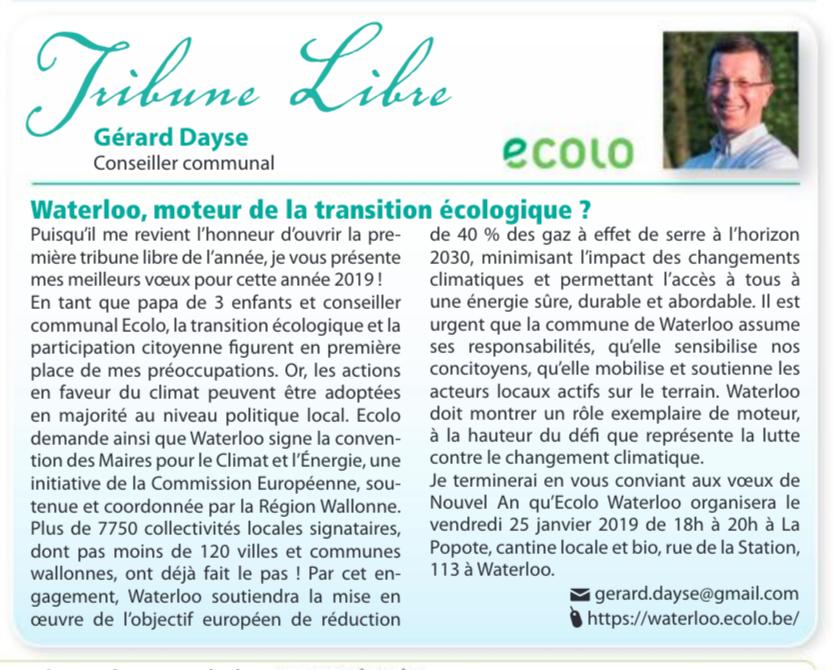 Tribune Libre du Waterloo Info: Gérard Dayse