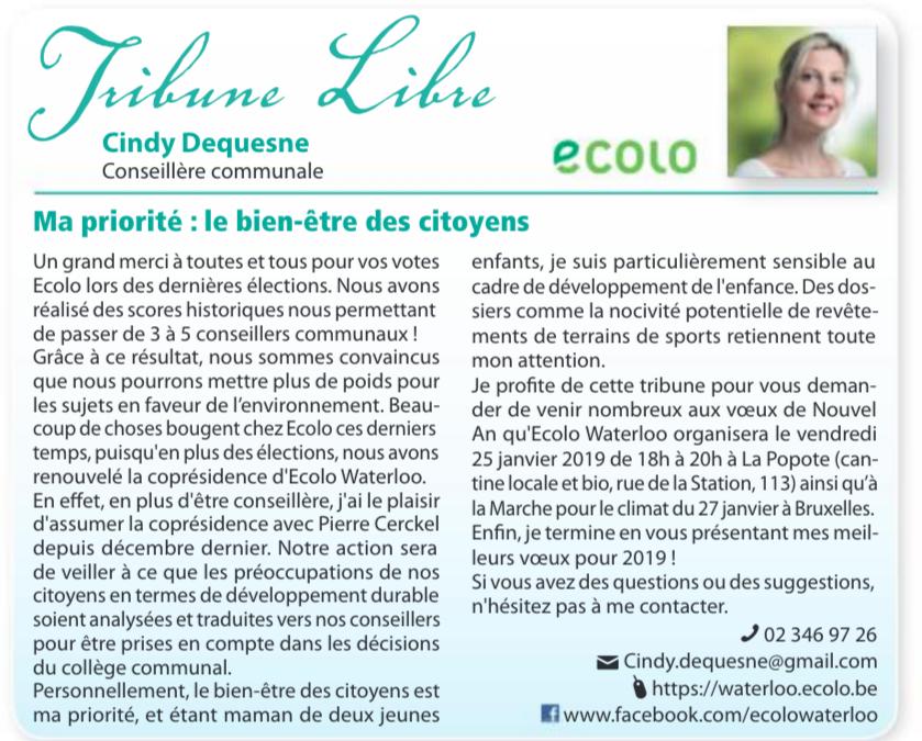 Tribune Libre du Waterloo Info: Cindy Dequesne